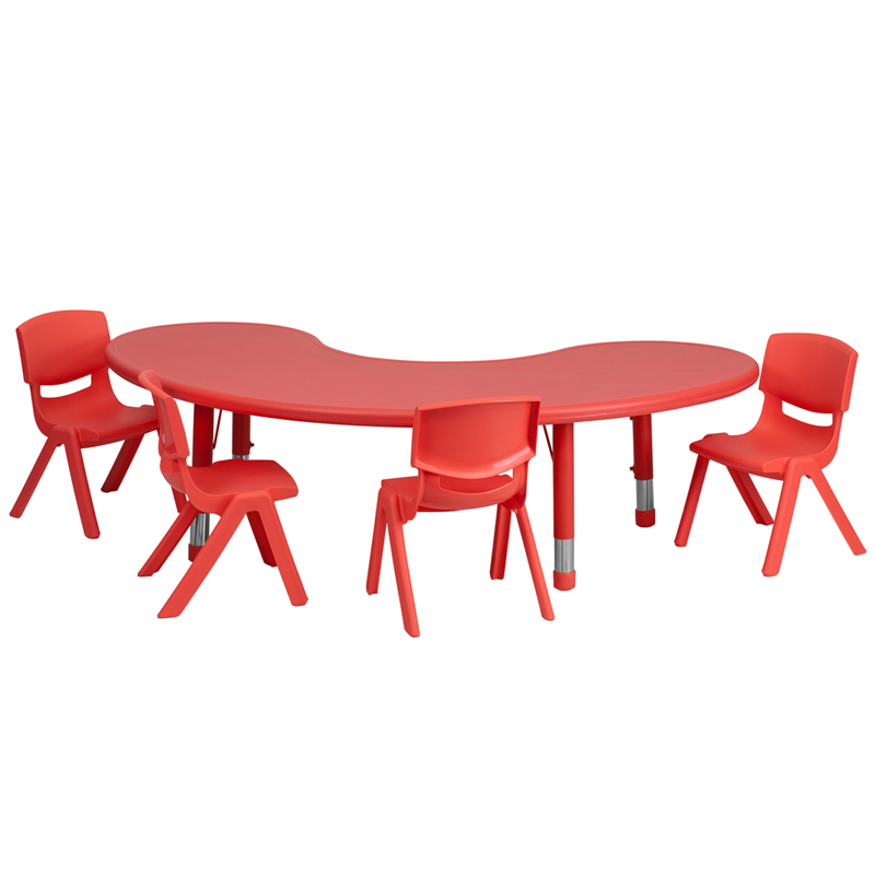 #39 - 35''W X 65''L ADJUSTABLE HALF-MOON RED PLASTIC ACTIVITY TABLE SET WITH 4 SCHOOL STACK CHAIRS