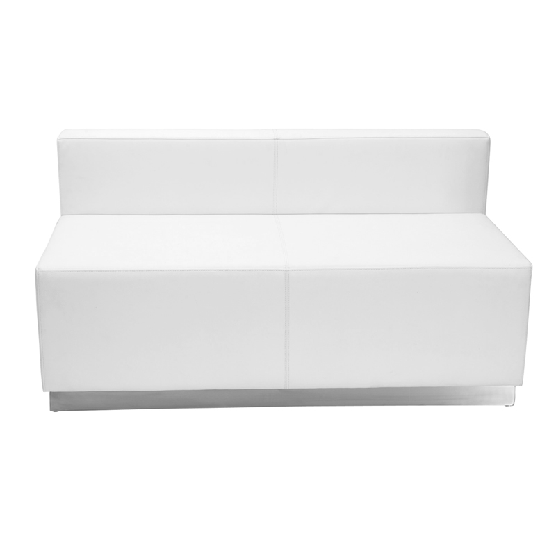 #58 - LOUNGE SERIES WHITE LEATHER LOVESEAT WITH BRUSHED STAINLESS STEEL BASE