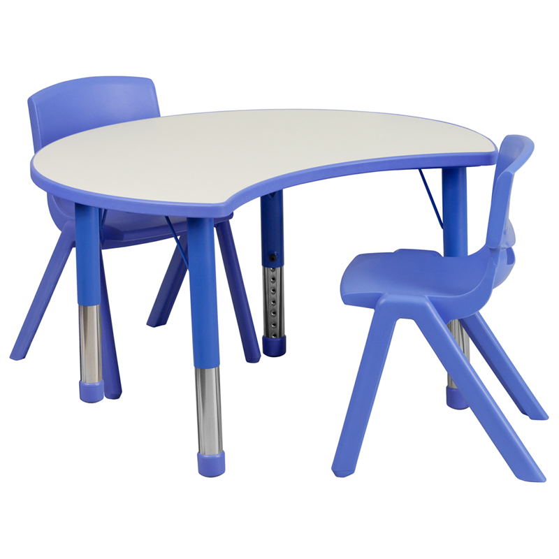 #40 - 25.125''W X 35.5''L HEIGHT ADJUSTABLE CUTOUT CIRCLE BLUE PLASTIC ACTIVITY TABLE SET WITH 2 SCHOOL STACK CHAIRS