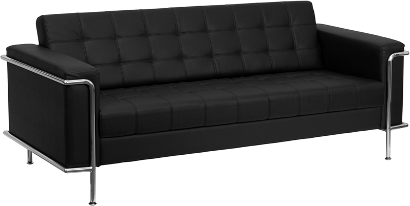 #17 - LESLEY SERIES CONTEMPORARY BLACK LEATHER SOFA WITH ENCASING FRAME