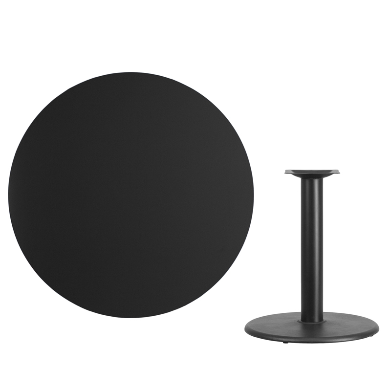 #56 - 42'' Round Black Laminate Table Top with 24'' Round Table Height Base