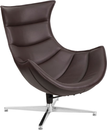 #51 - Retro Style Brown Leather Swivel Cocoon Accent Chair - Cocoon Lounge Chair