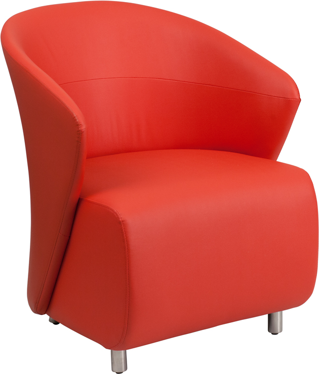 #12 - RED LEATHER RECEPTION CHAIR