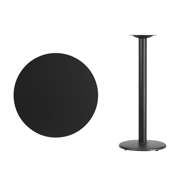 #26 - 30'' Round Black Laminate Table Top with 18'' Round Bar Height Base