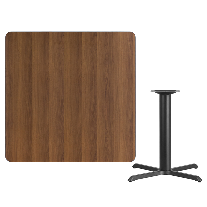 #110 - 42'' SQUARE WALNUT LAMINATE TABLE TOP WITH 33'' X 33'' TABLE HEIGHT BASE