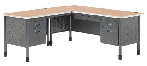 #8 - Mesa Series Secretarial Office Desk with Maple Top and Left Return