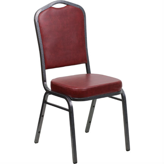 #5 - CROWN BACK BANQUET CHAIR WITH BURGUNDY VINYL AND SILVER VEIN FRAME