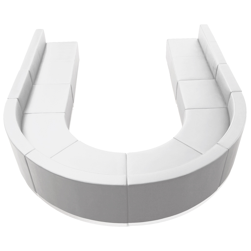 #98 - LOUNGE SERIES WHITE LEATHER RECEPTION CONFIGURATION, 8 PIECES