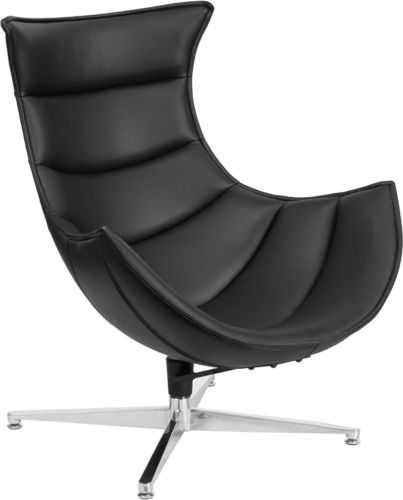 #52 - Retro Style Black Leather Swivel Cocoon Accent Chair - Cocoon Lounge Chair