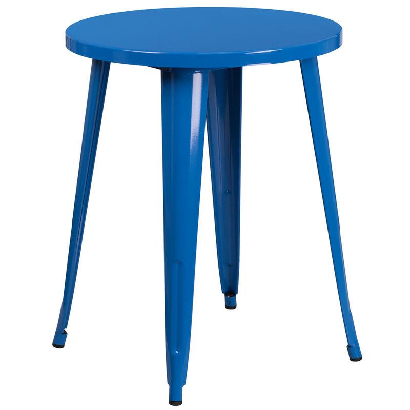 #64 - 24'' Round Blue Metal Indoor-Outdoor Restaurant Cafe Table Height