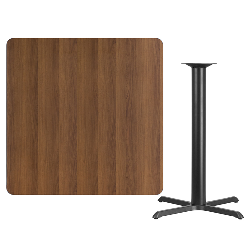 #111 - 42'' SQUARE WALNUT LAMINATE TABLE TOP WITH 33'' X 33'' BAR HEIGHT BASE