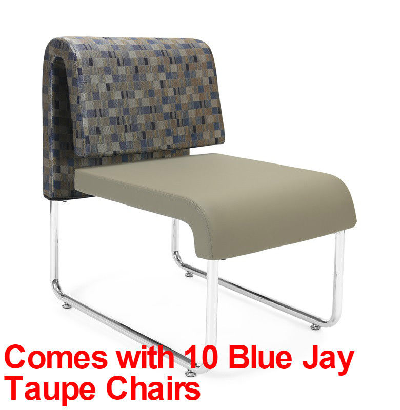 #23 - (15 PCS)UNO Series Lounge Set w/Blue Jay Taupe Chairs & Windswept Bronze Tables