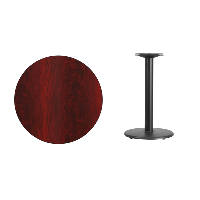 #27 - 30'' Round Mahogany Laminate Table Top with 18'' Round Table Height Base