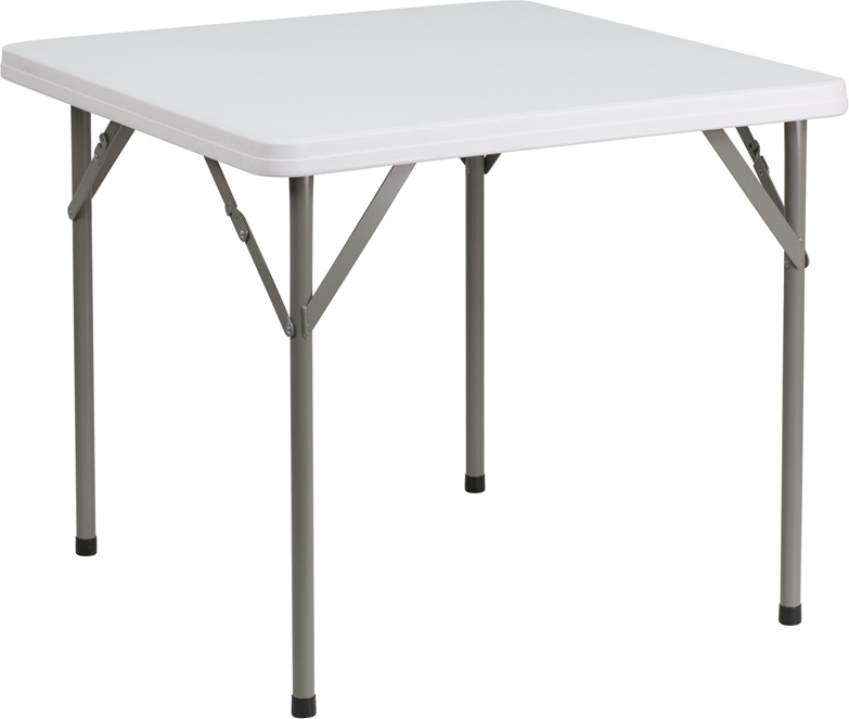 #4 - 34'' SQUARE GRANITE WHITE PLASTIC FOLDING TABLE