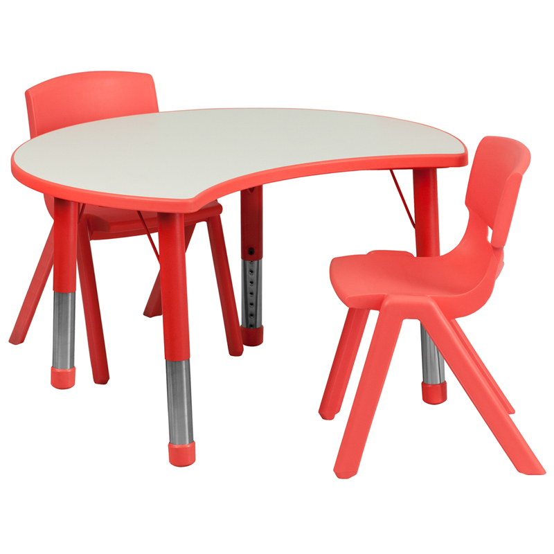#42 - 25.125''W X 35.5''L HEIGHT ADJUSTABLE CUTOUT CIRCLE RED PLASTIC ACTIVITY TABLE SET WITH 2 SCHOOL STACK CHAIRS