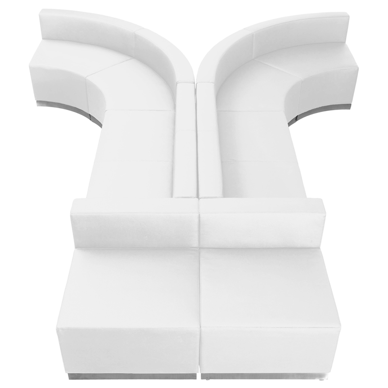 #99 - LOUNGE SERIES WHITE LEATHER RECEPTION CONFIGURATION, 8 PIECES