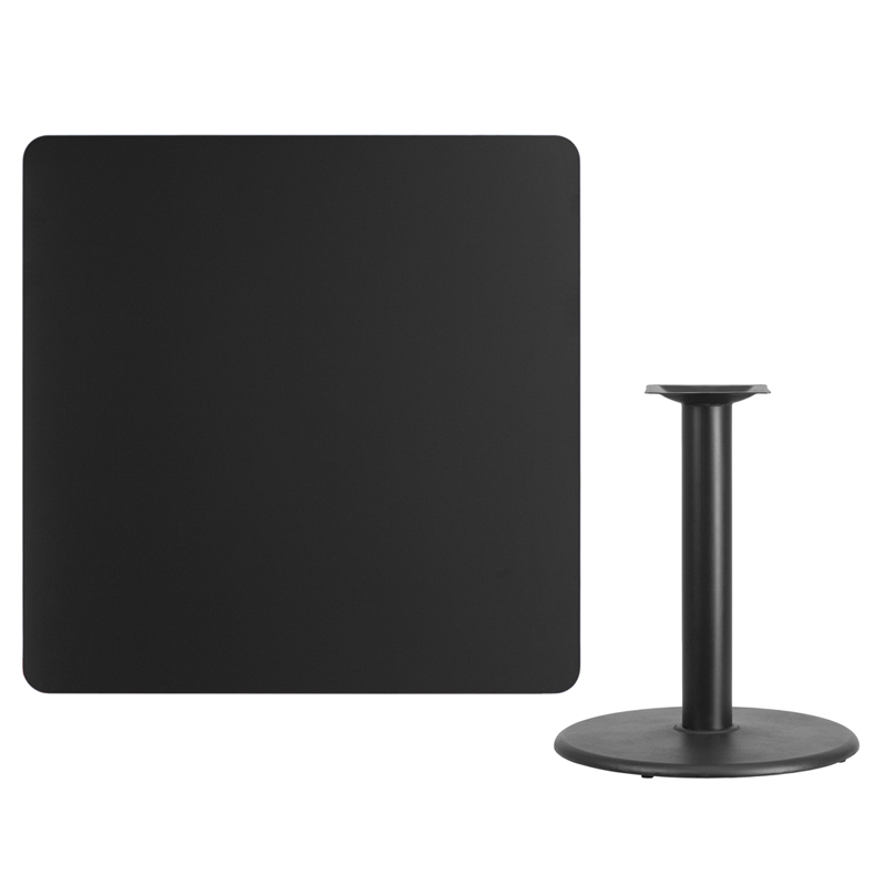#112 - 42'' SQUARE BLACK LAMINATE TABLE TOP WITH 24'' ROUND TABLE HEIGHT BASE