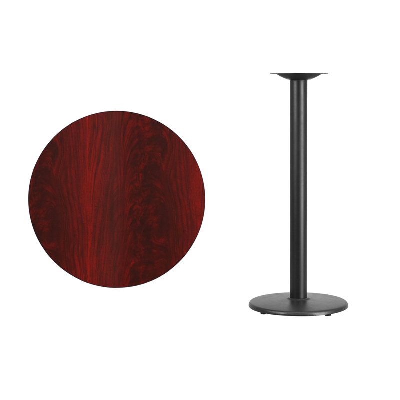 #28 - 30'' Round Mahogany Laminate Table Top with 18'' Round Bar Height Base