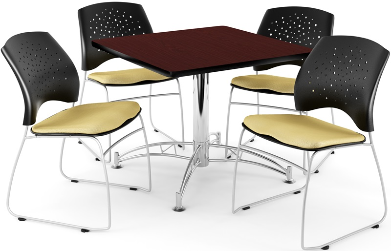 #44 - Multi-Purpose 42'' Square Table in Mahogany Finish with 4 Star Stack Chairs in Golden Flax Color
