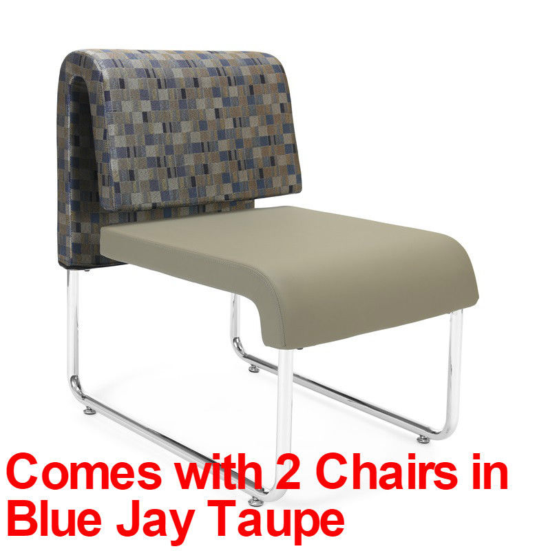 #63 - (3 PCS) UNO Series Lounge Package w/Blue Jay Taupe Chairs & Asian Night Table