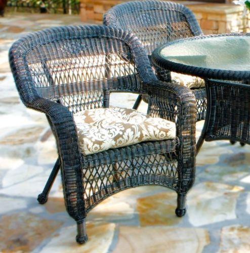 #33 - 5 Piece Outdoor Patio Garden Dark Roast Resin Wicker Dining Set with Muse Fabric