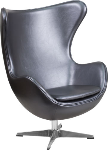 #30 - Grey SoftLeather Egg Chair with Tilt-Lock Mechanism - Accent Lounge Chair