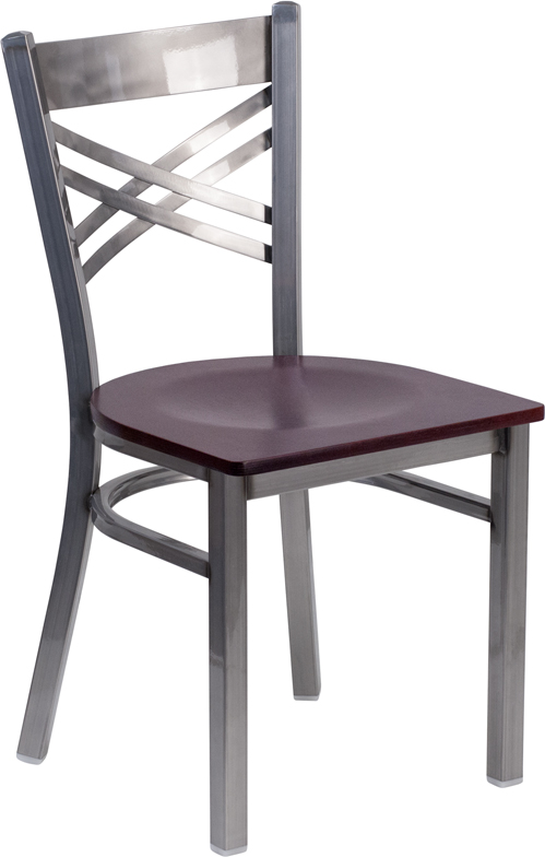 #30 - Clear Coated ''X'' Back Metal Restaurant Chair Mahogany Finished Wood Seat