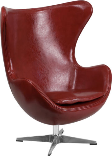 #29 - Red Leather Egg Chair with Tilt-Lock Mechanism