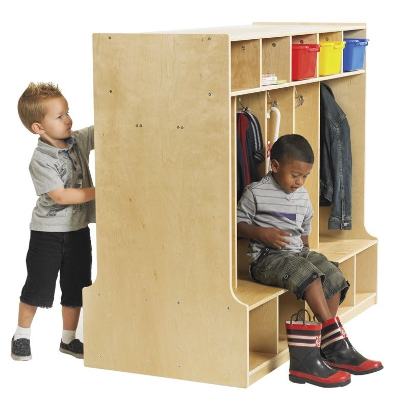 #10 - Double Sided Birch 10 Section Locker with Bench