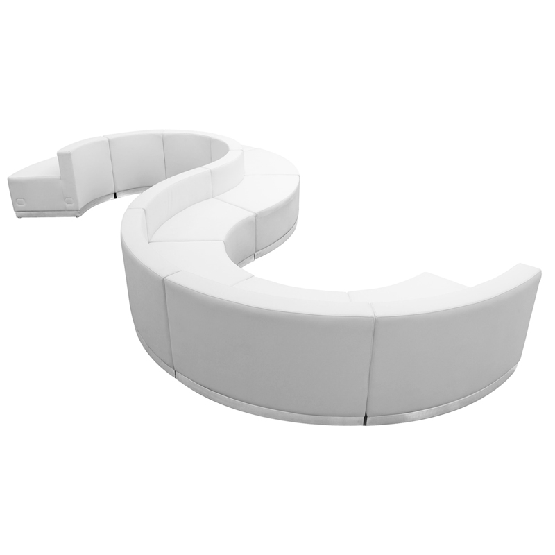#100 - LOUNGE SERIES WHITE LEATHER RECEPTION CONFIGURATION, 9 PIECES