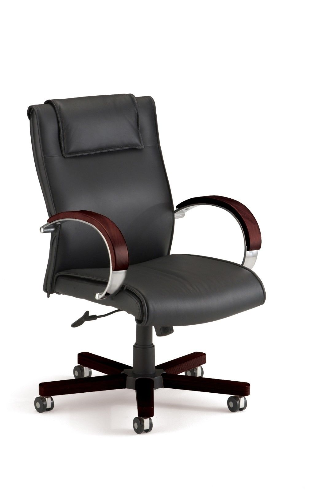 #110 - Mid Back Black Leather Executive Office Chair with Mahogany Accent