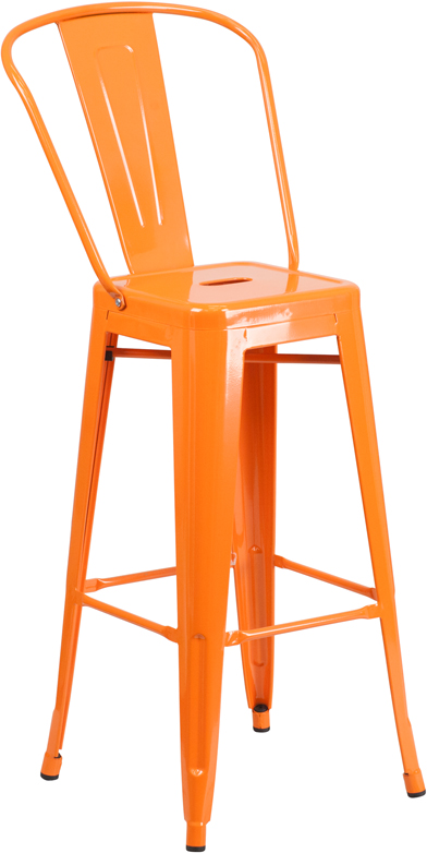 #18 - 30'' Orange Metal Indoor-Outdoor Barstool - Industrial Style Restaurant Barstool
