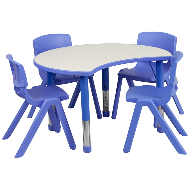 #43 - 25.125''W X 35.5''L HEIGHT ADJUSTABLE CUTOUT CIRCLE BLUE PLASTIC ACTIVITY TABLE SET WITH 4 SCHOOL STACK CHAIRS