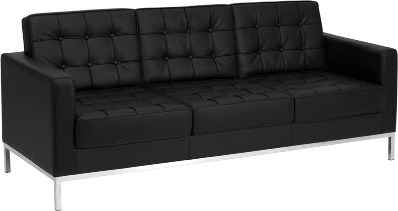 #20 - LACEY SERIES CONTEMPORARY BLACK LEATHER SOFA WITH STAINLESS STEEL FRAME