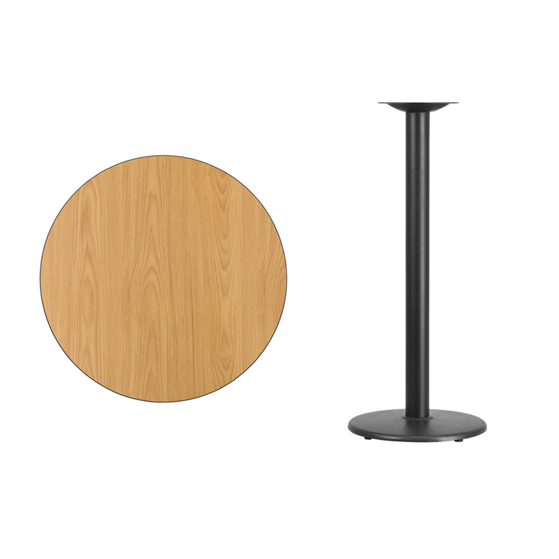 #30 - 30'' Round Natural Laminate Table Top with 18'' Round Bar Height Base