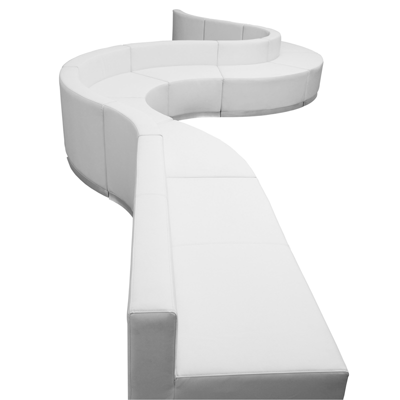 #101 - LOUNGE SERIES WHITE LEATHER RECEPTION CONFIGURATION, 9 PIECES