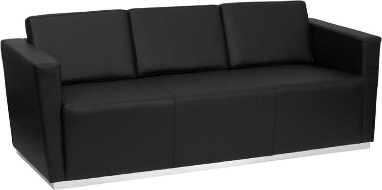 #21 - TRINITY SERIES CONTEMPORARY BLACK LEATHER SOFA WITH STAINLESS STEEL BASE