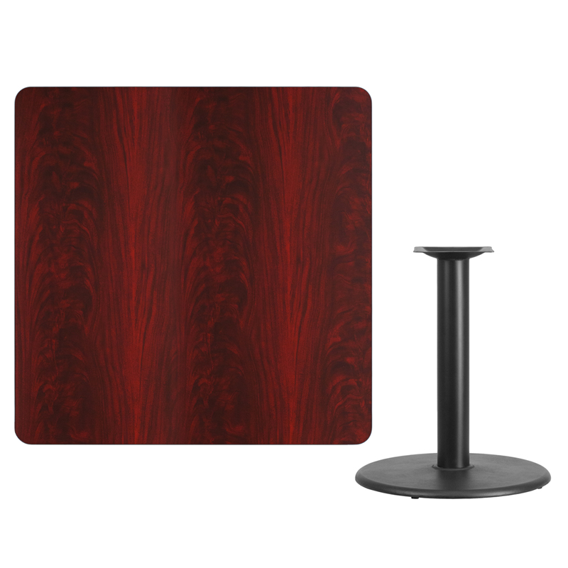 #114 - 42'' SQUARE MAHOGANY LAMINATE TABLE TOP WITH 24'' ROUND TABLE HEIGHT BASE