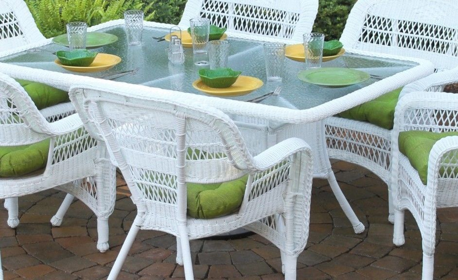 #7 - 7 Piece Outdoor Patio Dining Set with White Coastal Resin Wicker & Monti Leaf