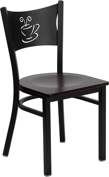 #81 - BLACK COFFEE BACK METAL RESTAURANT CHAIR - MAHOGANY WOOD SEAT