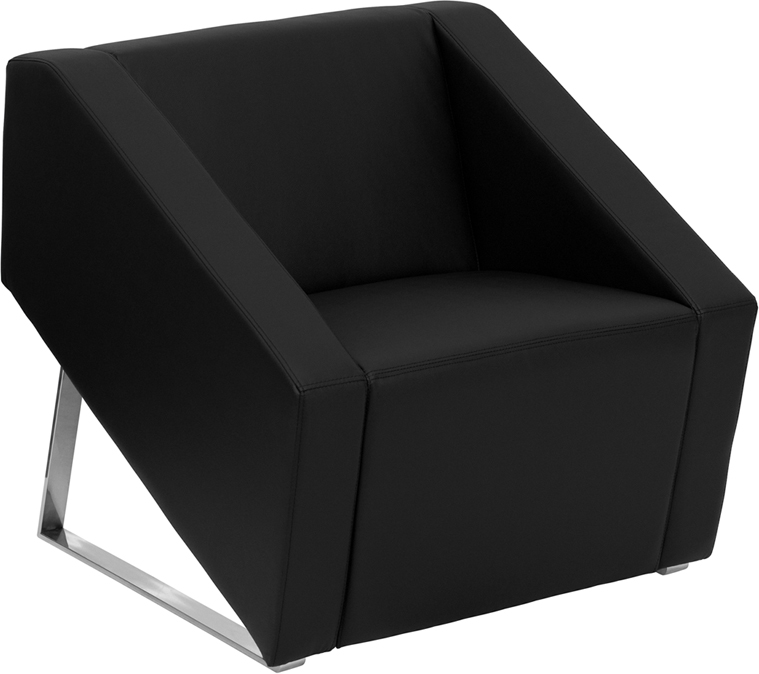 #24 -  SMART SERIES BLACK LEATHER RECEPTION CHAIR