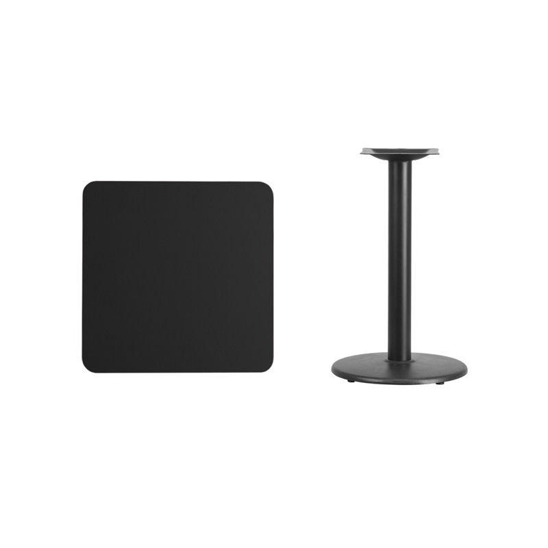 #72 - 24'' SQUARE BLACK LAMINATE TABLE TOP WITH 18'' ROUND TABLE HEIGHT BASE