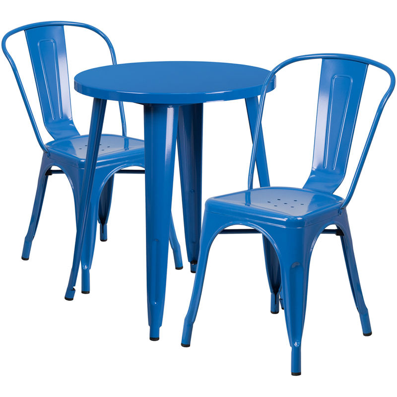#108 - 24'' Round Blue Metal Indoor-Outdoor Restaurant Table Set with 2 Cafe Chairs