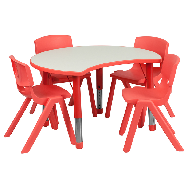 #45 - 25.125''W X 35.5''L HEIGHT ADJUSTABLE CUTOUT CIRCLE RED PLASTIC ACTIVITY TABLE SET WITH 4 SCHOOL STACK CHAIRS