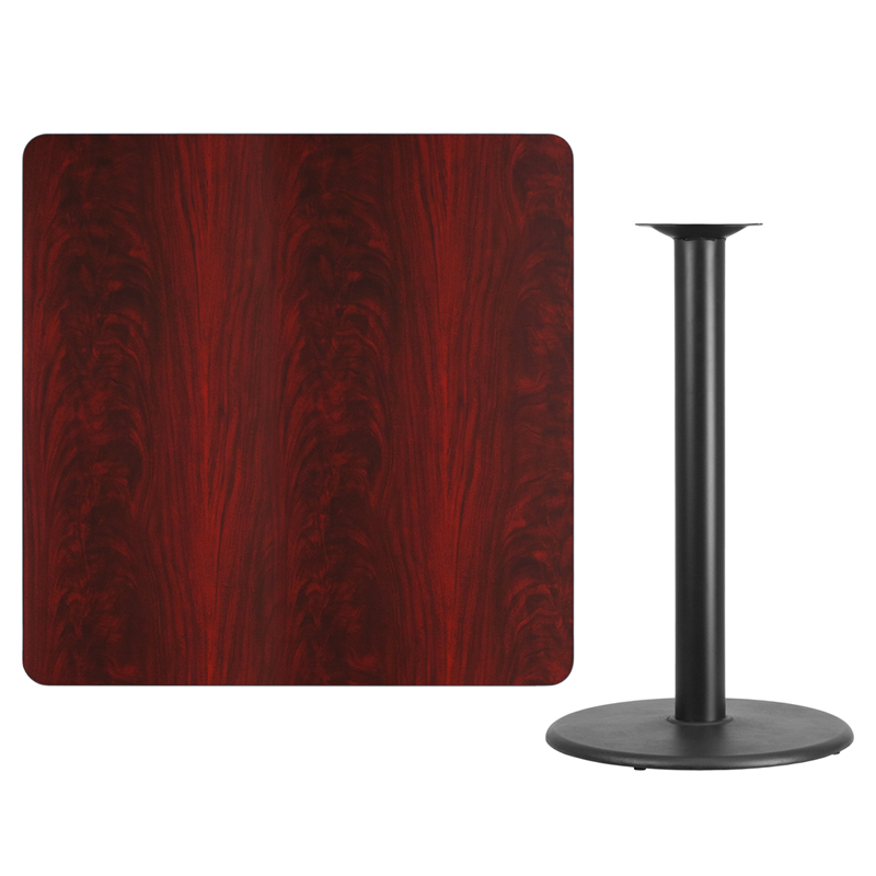 #115 - 42'' SQUARE MAHOGANY LAMINATE TABLE TOP WITH 24'' ROUND BAR HEIGHT BASE