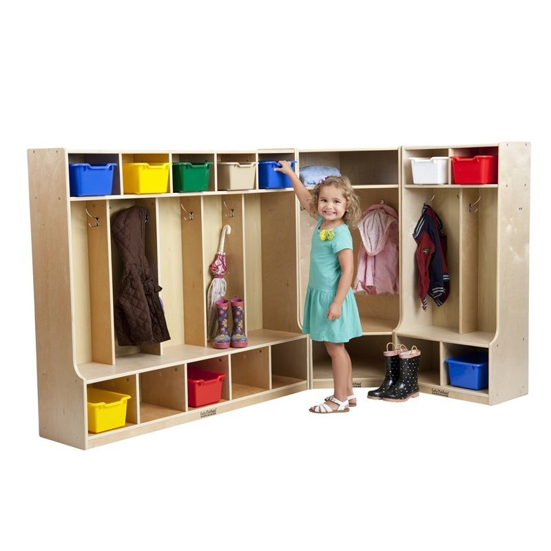 #1 - Birch Coat Lockers w/Bench 2 set With 5 Sections & Corner