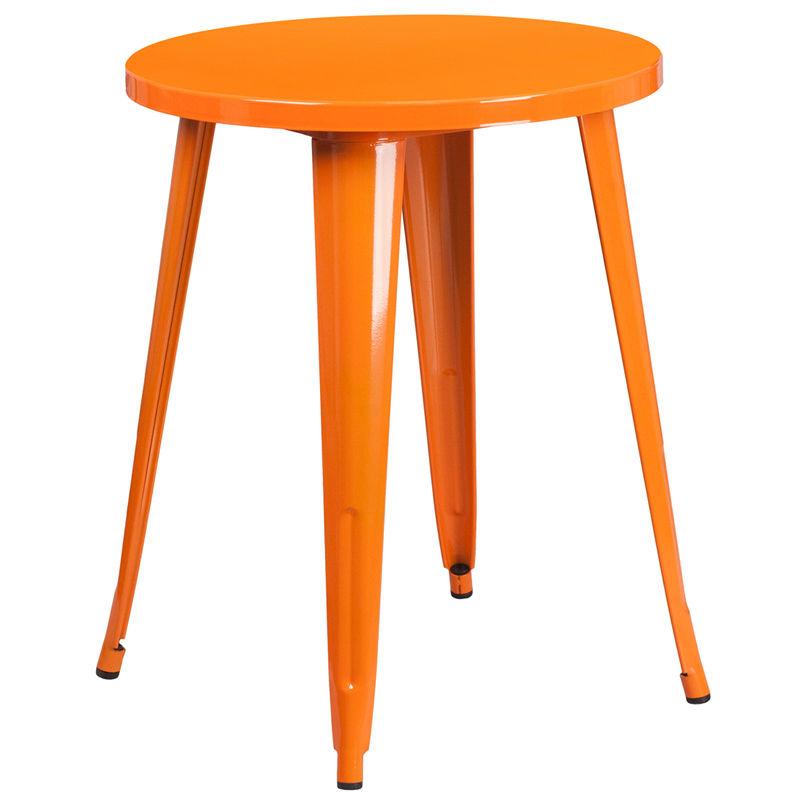 #68 - 24'' Round Orange Metal Indoor-Outdoor Restaurant Cafe Table Height