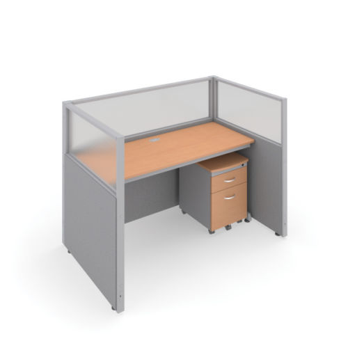 #16 - 47'' H x 60'' W Rize Office Privacy WorkStation in Gray Vinyl w/Maple Finish