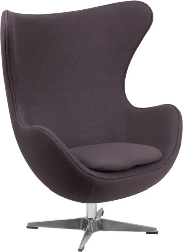 #36 - Gray Wool Fabric Egg Chair with Tilt-Lock Mechanism