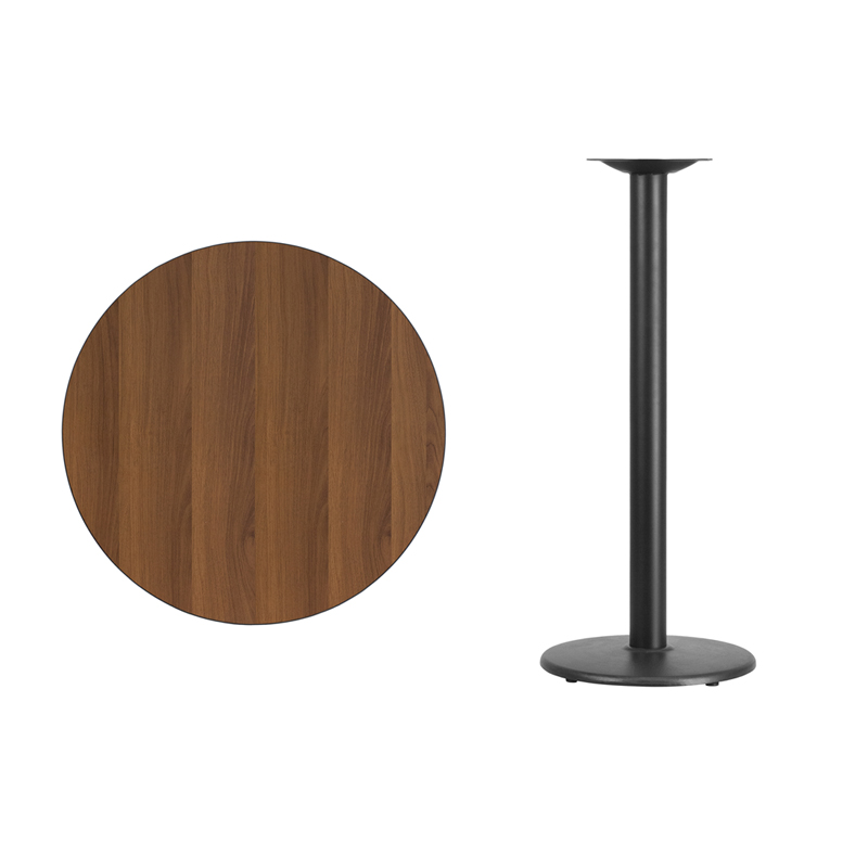 #32 - 30'' Round Walnut Laminate Table Top with 18'' Round Bar Height Base